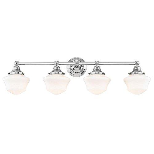 Schoolhouse Bathroom Light Chrome White Opal Glass 4 Light 31.625 Inch Length