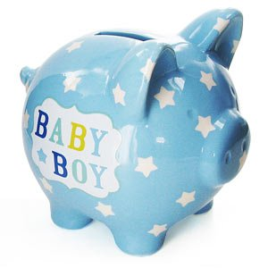 Baby boy blue ceramic piggy bank kitchen home Large piggy banks for adults