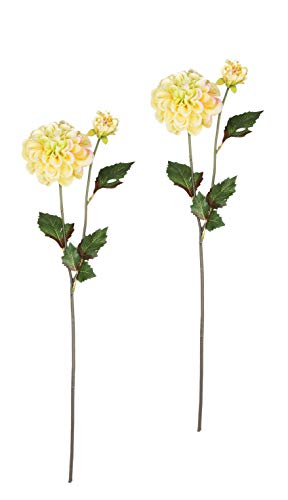 Sullivans Set of 2 Artificial Yellow Dahlia Flower Stems, 19.5""