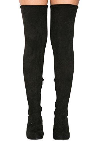 Bamboo Womens Thirst Chunky Block Heel Thigh High Drawstring Over-The-Knee Boots Black HIkQ30n5iQ