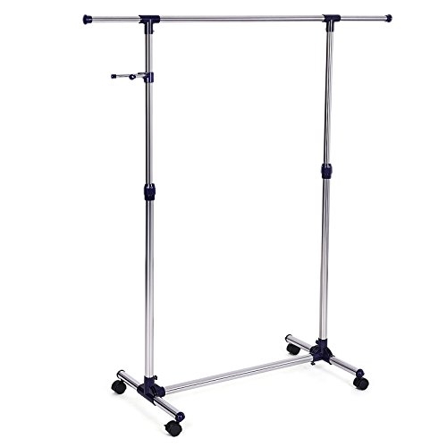 SONGMICS Height Adjustable Clothes Rack Rolling Garment Rack Portable Clothing Rack on Wheels ()