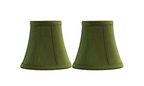 Urbanest Set of 2 Olive Green Silk Bell Chandelier Lamp Shade,3x5x4.5