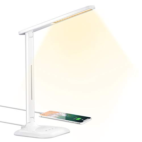 LED Desk Lamp, Eye-caring Table Lamp, Desk Light with 5 Brightness Levels and 5 Color Mode USB Charging Port, Sensitive Control, 10W Power for Reading, Working, Painting, Sleeping in Home, Office