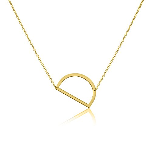 Beautiful Personalized XL Gold Plated Stainless Steel Side Initial Necklace Pendant with - D - Gold D&g