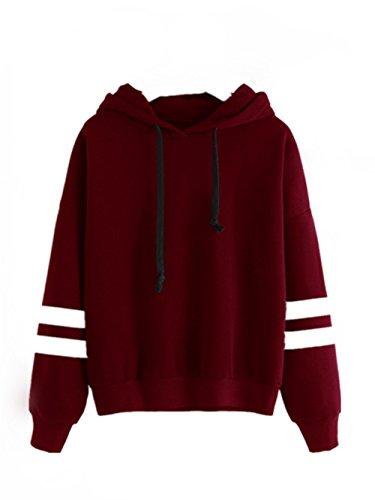 LHWY Damen Long Sleeve Hoodie Sweatshirt Pullover Kapuzen Pullover Tops Bluse (M, Rot)