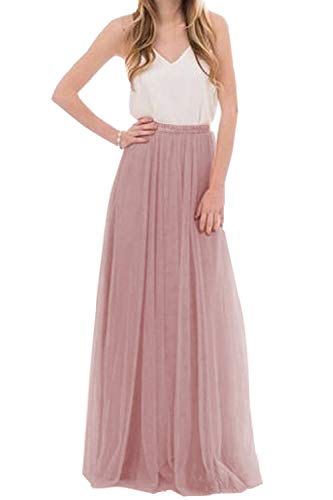 (Omelas Womens Long Floor Length Tulle Skirt High Waisted Maxi Tutu Party Dress (Mauve, M))