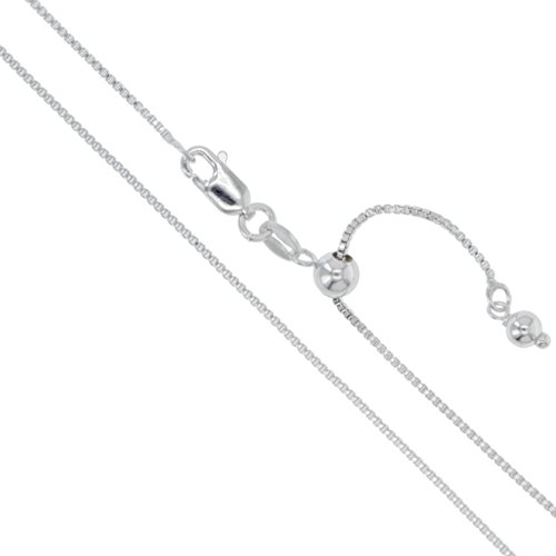 Sterling Silver Adjustable Box Chain 1mm Genuine Solid 925 Italy Necklace 22
