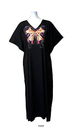 (15093 Black) Damen Cotton/Polyester White Embroidery Knit Long Kaftan. One Size Fit UK 10-32