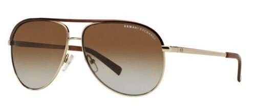 A X Armani Exchange AX2002 Aviator Metal Sunglasses, Light Gold/Dark Brown, 61 mm