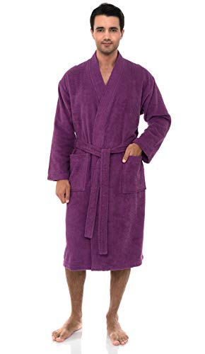 - TowelSelections Men's Robe, Turkish Cotton Terry Kimono Bathrobe X-Large/XX-Large Amethyst Purple