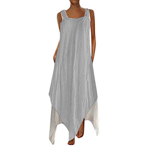 Alangbudu Women Patchwork Sleeveess Tank T-Shirt Plain Casual Loose Maxi Tunic Shift Geometric Irregular Hem Puffy Dress Gray