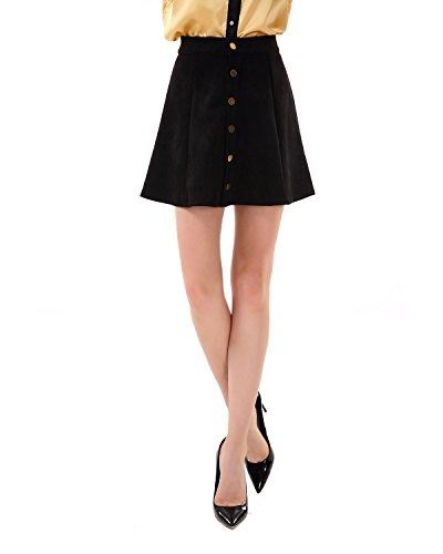 Apperloth Women Black Skirts Plain Mid Rise Button Front Vintage A line Skirt (Front Rise)