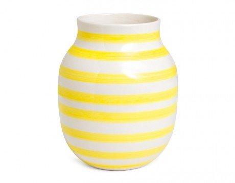 Kahler Omaggio Ceramic Vase - Height 200mm (7.9 In.) Diameter 165mm (6.5 In.) - Handmade Faience (White / Black)