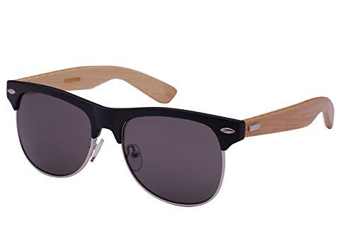 Edge I-Wear Retro Half Frame Horned Rim Bamboo Sunglasses by