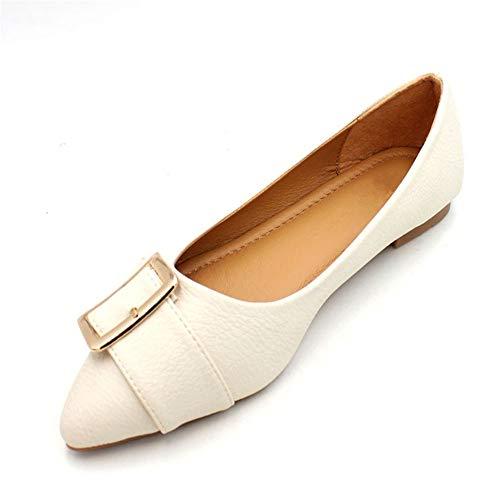 FLYRCX La Primavera y el Verano Forman Zapatos Planos de Fondo Suave con Punta Suave Zapatos de Trabajo Suaves y cómodos para Mujeres, 35 EU 35 EU