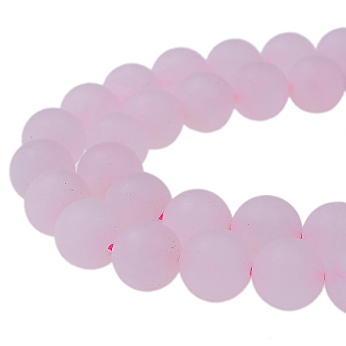 (PLTbeads Gorgeous Rose Quartz Natural Gemstone Loose Beads 6mm Matte Round Approxi 15.5 inch DIY Bracelet Necklace for Jewelry Making)