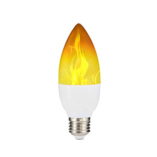 ❤️Byedog❤Flame Lamp LED Candlestick Bulb with Reverse Effect Mode 2 Mount E27/E14 Base (A) ()