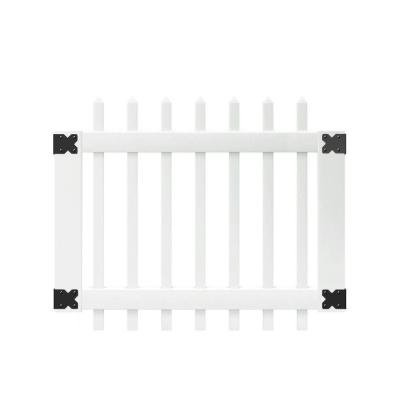3.5 ft. W x 3 ft. H White Vinyl Chelsea Spaced Picket Fence Gate