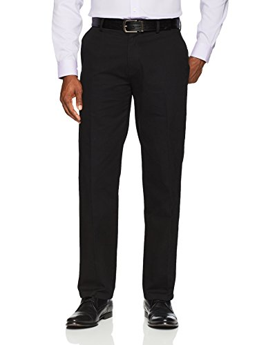 Amazon Essentials Men's Standard Classic-Fit Wrinkle-Resistant Flat-Front Chino Pant, True Black, 34W x - Size Men Of