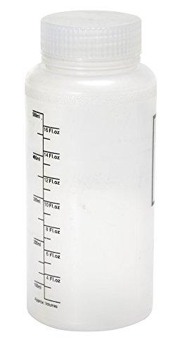 Vestil BTL-W-PP-16-LBL Wide Mouth Polypropylene Round Graduated Plastic Bottle with Label and Natural Cap, 16 oz Capacity, Translucent - Round Natural Bottle