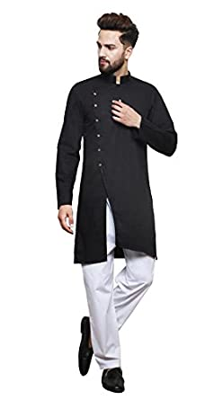 04a6809c Color Opera Kreation Men's New Style Solid Black Straight  Kurta_(ZTWMKURTA4_18-S)