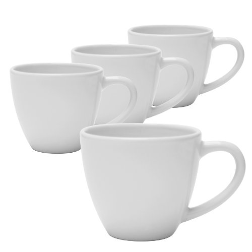 Trims Wt 4 White (Chantal Thin and Trim Mug, 10-Ounce, White, Set of 4)
