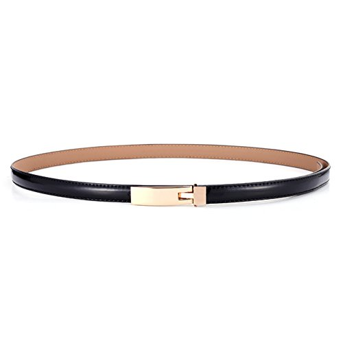 Thin Black Belt (KaLeido Women's Plaque Buckle Solid Color Skinny Waist Belt (28-32,)
