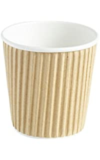 Thali Outlet - 200 x Kraft 4oz Ripple 3 Ply Insulated Paper Cups For Tea Coffee