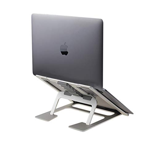 Soudance Adjustable Ventilated Laptop Stand for Desk, Portable Ergonomic Holder Compact Riser Compatible with Mac MacBook Pro/Air and All Apple Notebooks, Aluminum Silver AS1