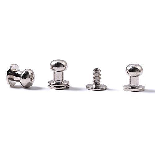 WUTA Solid Brass Round Head Screw Studs Brass Button Nail Rivet Chicago Leathercraft Accessories 20pcs/Pack,8mmX6mm Nikel