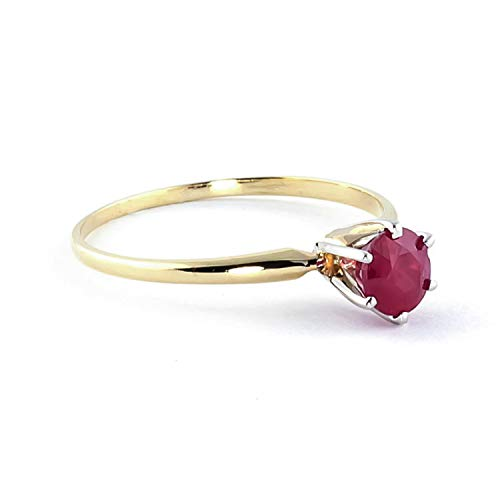 Galaxy Gold 14k Solid Yellow Gold Solitaire Ring with 0.65 Carat Natural Ruby - Size 6.5