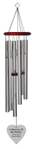 Chimesofyourlife mo-heart-35-silver Mother Heart Memorial Wind Chime, 35-Inch, Silver