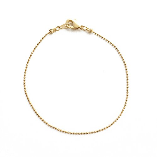HONEYCAT 24k Gold Plated Thin Ball Chain Plain Bracelet | Minimalist, Delicate Jewelry (Gold Bead Link Chain)