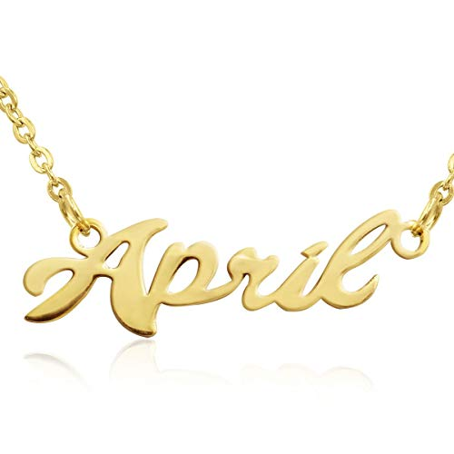 (Beam Reach April Nameplate Necklace in Gold)