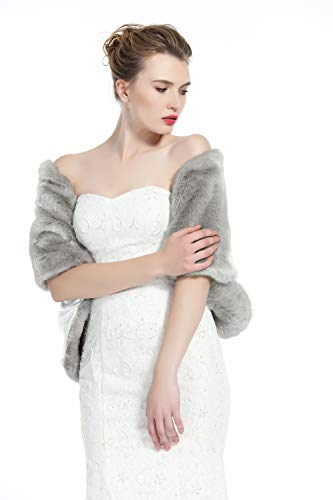 Dress Clip Fur - Wedding Faux fur Shawl For Women Bridal Cape Cover Up Party Gown Wrap Winter