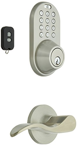 MiLocks XFL-02SN Digital Deadbolt Door Lock and Passage Lever Handle Combo with Keyless Entry via Remote Control and Keypad Code for Exterior Doors, Satin Nickel Best Selling