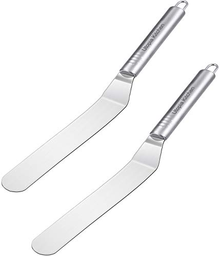 Utopia Kitchen Set of 2 Premium Quality Angled Icing Spatula - Cake Frosting Spatula - Stainless Steel - Baking and Cake Decorating Supplies - Multipurpose Use for Home, Kitchen or Bakery