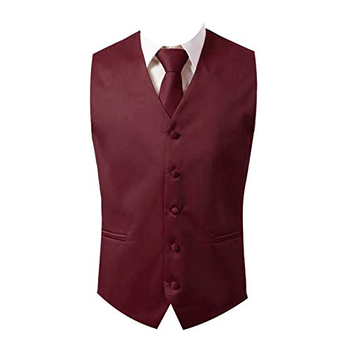 Brand Q 3pc Men's Dress Vest NeckTie Pocket Square Set for Suit or Tuxedo (M (Chest 42), Burgundy)