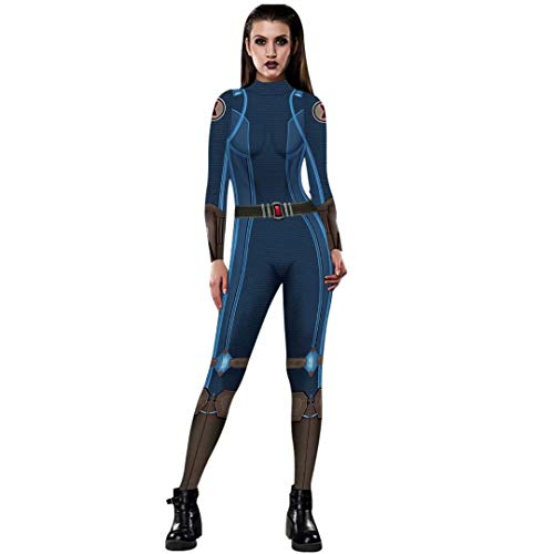 Tsyllyp Womens Black Widow Cosplay Costume Bodysuit Superhero Sexy Jumpsuit -