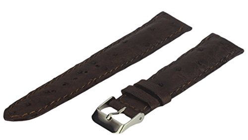Leather Watch Strap, Genuine Ostrich Leather, Brown, 20 mm, Long Length