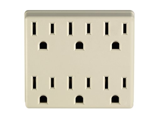 Leviton 6ADPT-I 3 Wire 15A/125-Volt 6 Outlet Grounding Adapter, Ivory