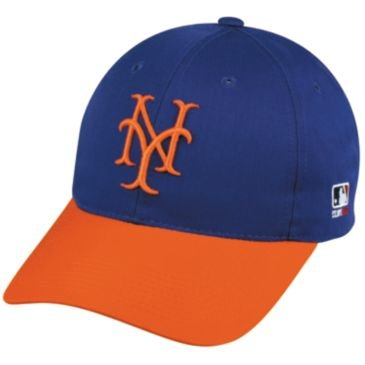 MLB Cooperstown YOUTH New York METS Orange/Royal Blue Hat Cap Adjustable Velcro TWILL Throwback