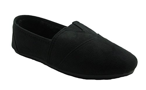 Cammie Floral or Faux Suede Pattern Comfy Slip-On Flat Shoes Black Faux Suede