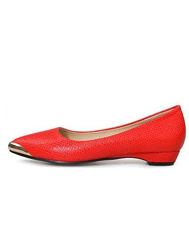 PDX blanco de Toe y de plano zapatos rojo oficina Flats 5 casual talón carrera us7 eu38 5 charol cn38 negro uk5 red vestido mujer punta TTpFn8