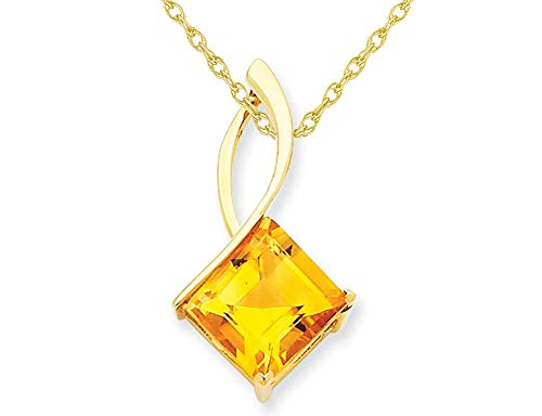 - 14K Yellow Gold 4.25 Carat (ctw) Natural Princess Cut Citrine Pendant Necklace with Chain