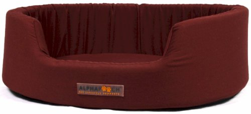AlphaPooch Dreamer Oval Fabric Bolster Dog Bed, Garnet, Medium, My Pet Supplies