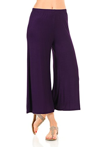 iconic luxe Women's Elastic Waist Jersey Culottes X-Large Purple