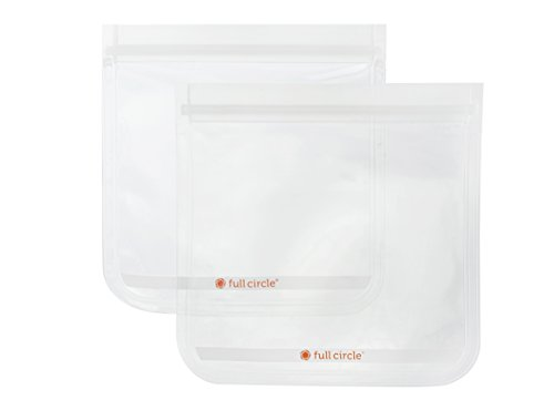 Full Circle ZipTuck 2 Sandwich Size Reusable Bags, Clear