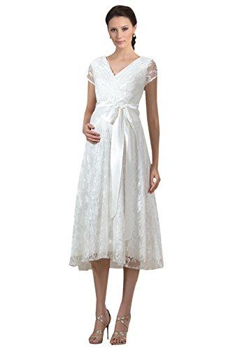 Dressdew Women's A Line V Neck Cap Sleeve Lace Long Maternity Wedding Dress