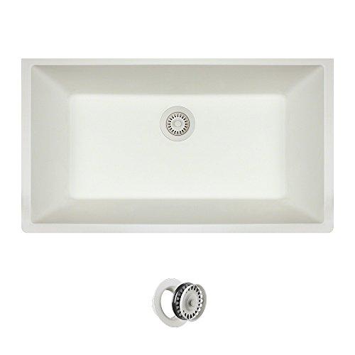 848 Large Single Bowl Quartz Kitchen Sink, White, Colored Flange